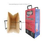 Kundenspezifischer Drucken-Packpapier-Holzkohle-Beutel für Grill mit Griff, 2kg 3kg 4kg 5kg 9kg