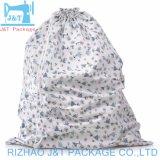 Blanco pequeño cordón muselina de algodón orgánico de la bolsa de cosméticos con Logo