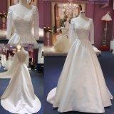 Мантия Mat-117 платья венчания Ballgown Backless сатинировки втулки шнурка длинней Bridal