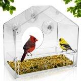 Godere dell'alimentatore acrilico degli uccelli della finestra di vita con il pollone ed il cassetto