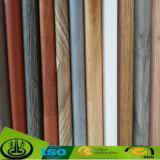 Papel de melamina de grão de madeira impresso popular como papel decorativo