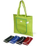 Saco de compras promocional de dobra, sacola de transporte de poliéster dobrável (HBFB-63)