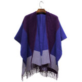 Lady Fashion Color Block Châle en acrylique Woven Winter Fringe (YKY4502)