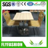 Le restaurant en acier inoxydable mobilier Table et chaise de salle à manger fixe