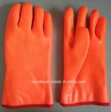 Оранжевый для тяжелого режима работы с другой стороны ПВХ рабочие перчатки