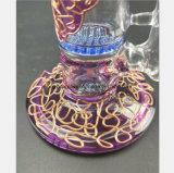 Pipe de fumage en verre cellulaire bleue de configuration pourprée pour le tabac de filtre