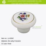 Flor clássico mobiliário de cerâmica de zinco impresso o botão do gabinete