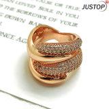 Christelijke Juwelen Vier de Diamant die van de Vorm van de Slang van de Wond van Overlappingen Gouden Ringen wervelen