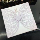 Carte d'invitation de mariage de coupure de laser de papier de perle de qualité