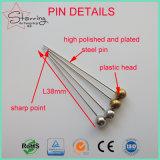 Embalaje de la rueda de plástico de 38mm Plata bola redonda cabeza Pasador recto de coser