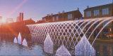 De openlucht Grote Fontein toont LEIDENE Aangestoken Drijvende Fontein