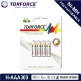AAA/Hr03 300mAh 재충전용 니켈 금속 수소화물 장난감을%s 세륨을%s 가진 긴 서비스 기간 건전지