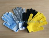 Les gants tricotés par coton avec le PVC bloque 1 côté