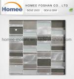 Mattonelle di mosaico di vetro Mixed di Backsplash della parete dell'alluminio grigio decorativo della striscia