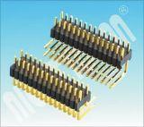 PH: 0,8 de las filas de doble cabezal de patillas del conector de 90 grados de ángulo recto
