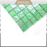 Hellgrünes quadratisches glattes Glasmosaik für Swimmingpool-Fliese