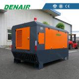 O baixo ruído lubrific a unidade Diesel montada patim do compressor de ar refrigerando do ar