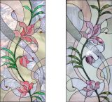 Painel da porta do vidro manchado de teste padrão de flores com ofício da arte