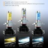 최고 밝은 노란 백색 6000lm 50W 12V는 색깔 H4 LED 9004 9007의 H13 LED 헤드라이트 전구 이중으로 한다