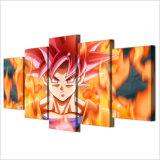 Segeltuch-Farbanstrich-Wand-Kunst-Ausgangsdekor-Rahmen für Wohnzimmer 5 Stück-Karikatur Goku Drache-Kugel-Plakat SuperSaiyan Abbildungen