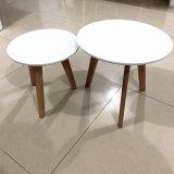 Art-Enden-Tisch-weiße oberste hölzerne Dübel-Beine