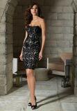 Cyan-blaues kurzes Spitze-Kleid mit Umhüllungen-Mutterabend-Kleid