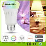 Do bulbo esperto do diodo emissor de luz de Lohas bulbos controlados equivalentes coloridos claros do diodo emissor de luz do diodo emissor de luz Dimmable 60W (9W) Smartphone do Wi-Fi A19 E27