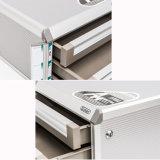 Casellario di alluminio chiudibile a chiave dell'ufficio dei 5 cassetti con la barra dell'avviso