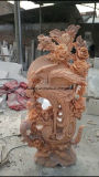 Chiaro Phoenix di pietra di marmo rossa a grandezza naturale intagliata mano che intaglia la statua dell'uccello per il giardino