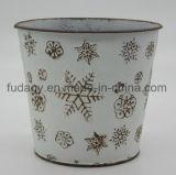 Potenciômetro de flor antigo redondo do metal com impressão do floco de neve
