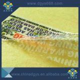 Escritura de la etiqueta evidente del pisón del vacío de la cinta de la seguridad