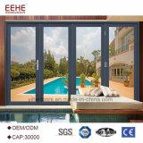 Portelli di piegatura di alluminio del patio del blocco per grafici, portelli di vetro del patio con vetro Tempered