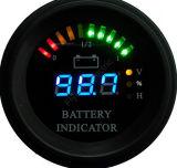 料金のフォークリフト、EV、100Vまでの12V 24V 36V 48V 60Vの円形LEDデジタル電池のゲージの排出の表示器時間のメートルの状態