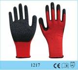 Guante rojo del apretón de la seguridad de la palma de la arruga del guante del látex del poliester