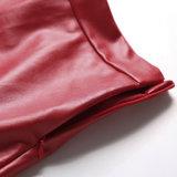 Tricots de la mode des femmes neuves et la jupe moyenne de cuir artificiel de longueur