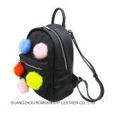 Mini mochila com a forma mais barata de POM POM populares graça mulheres mochila sacos de couro