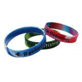 Le lettrage de l'impression Bracelet en silicone gravé Bracelet en caoutchouc personnalisé, imprimé Bracelet avec anneau de la main