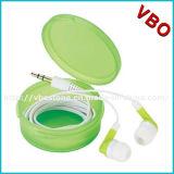 印刷されたイヤホーンが付いている円形のプラスチックケースの昇進のEarbud安く