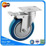 125mm Bleu PU Roulette pivotante roues pour les cas de vol à usage intensif