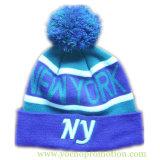 上の球が付いている女性の100%のアクリルのジャカード袖口3D Embrioderyの帽子の冬の帽子によって編まれる帽子によって編まれる帽子