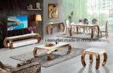 Самомоднейшим покрынная золотом мебель комнаты столовой таблицы конца таблицы стороны таблицы пульта нержавеющей стали живущий