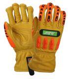 TPR Anti-Impact Flame-Resistant Peau de chèvre les gants de travail de sécurité mécanique
