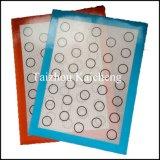 Couvre-tapis de traitement au four de Macaron de silicones de catégorie comestible avec la fibre de verre