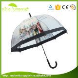 Guarda-chuva transparente do PVC da forma com impressão do edifício