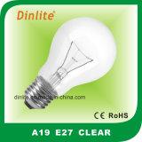 A19 Lampe à incandescence et lampe de CE RoHS clair