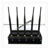 De draagbare Selectie van de Stoorzender van de Telefoon WiFi/3G van de Cel en GPS van de Stoorzender van het Signaal, de Draadloze Stoorzender van 5 Banden voor de Regelbare ModelStoorzender 5bands van 2g+3G+4G+Lojack /Stationary