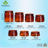 Ámbar de 250ml Crema Plástica Cosmética Jar para la crema de embalaje