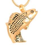 De Halsband van de Urn van de As van de Crematie van de Vorm van de Vissen van het roestvrij staal