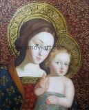Figura clássica pintura a óleo sobre tela rachada Efeito de idade