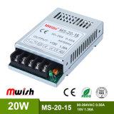 20W SMPS DC15V 1.35A 소형 크기 알루미늄 합금 주거 LED는 전력 공급을 통제했다